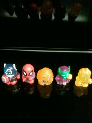Marvel Squinkies lot of 5  Captain America Spiderman  Thing green goblin torch