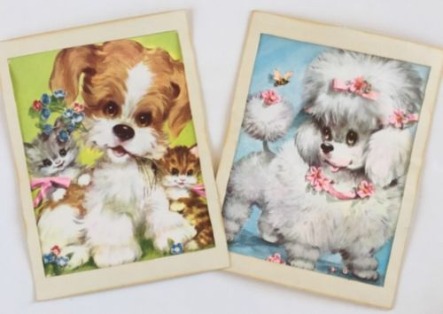 Vintage (2)Adorable Poodle, Kittens, Puppy Prints By COBY? Nursery Decor 11x14