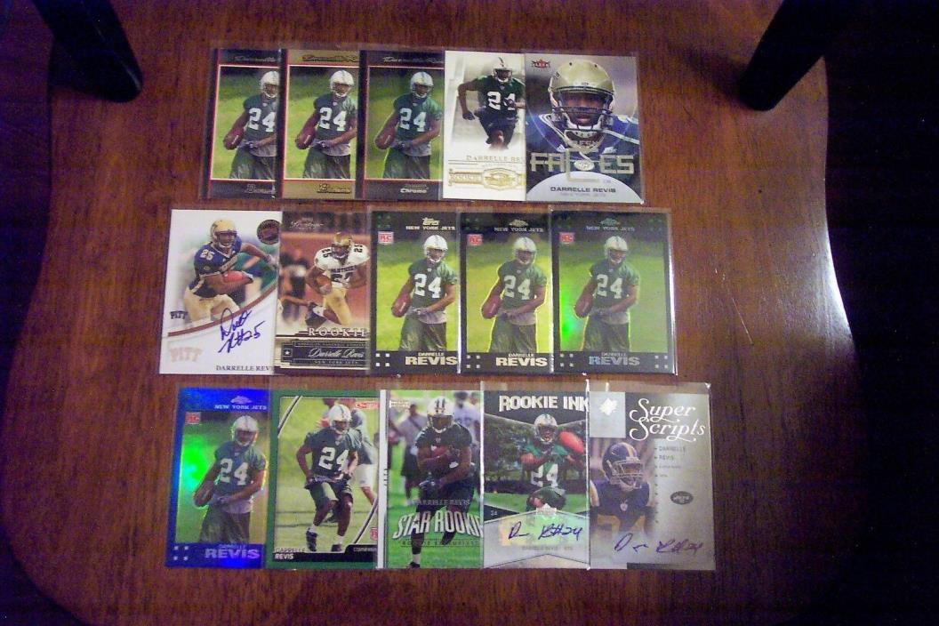DARRELLE REVIS 2007 TOPPS/BOWMAN/UD FB RC LOT OF 34 CARDS W/3 AUTOS JETS 4X A/P