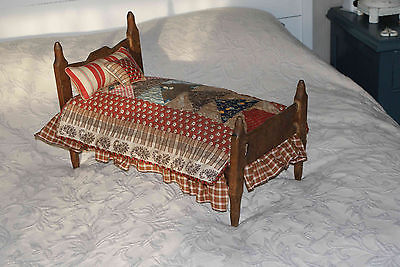 Antique doll bed & bedding