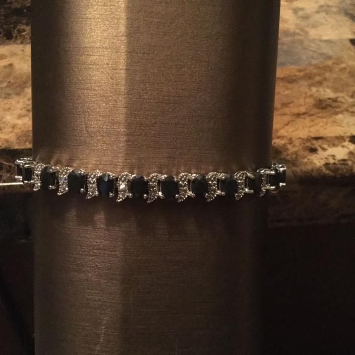 Genuine Blue Sapphire Tennis Bracelet