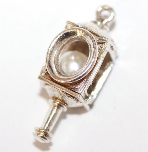 Vintage Sterling Silver Bracelet Charm CHIM Ships Lantern White Pearl Set 4.5g
