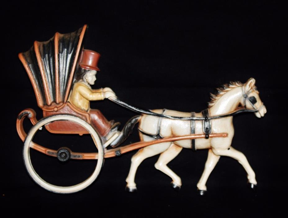 Vintage Hard Plastic Homco Horse and Carriage 12