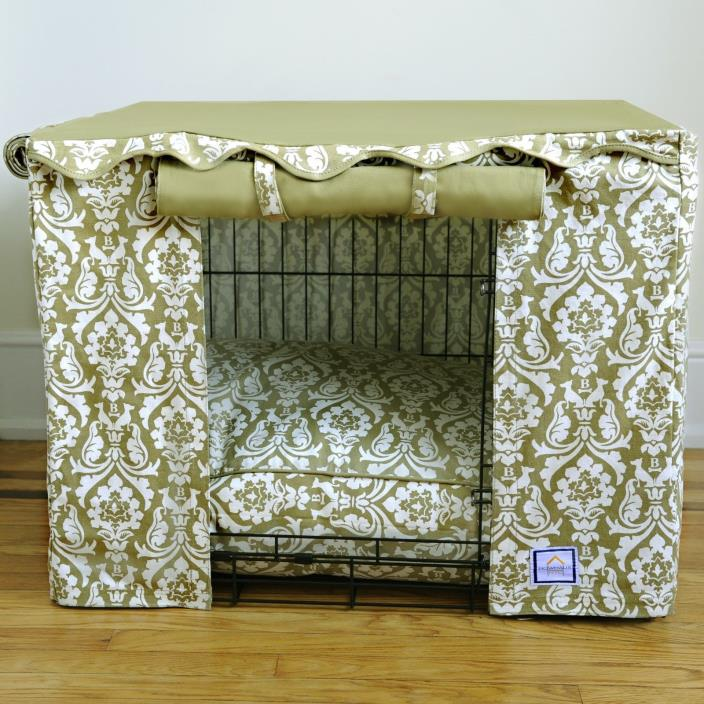 BowhausNYC Damask Crate Cover Cotton Canvas Cream and Tan, Medium