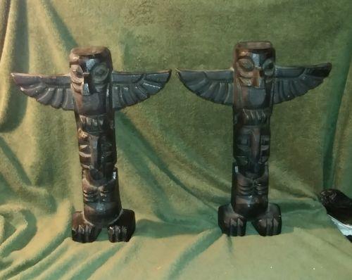 Rare Northwest Coast Totem Pole Cast Iron Andirons