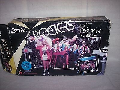 Vintage 1985 Barbie Rockers Set Rock & Roll Back Stage Record Instruments Chairs