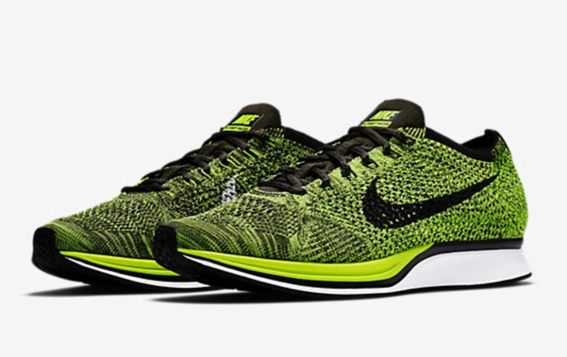 NIKE FLYKNIT RACER SHOES VOLT BLACK SEQUOIA 526628-731 MEN'S 6.5 W0MENS 8