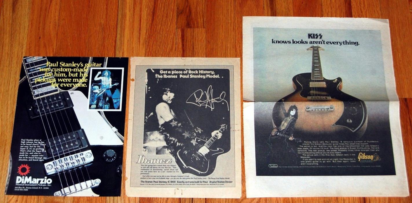 KISS Paul Stanley 3 Ad Advert 1976 1977 1978 Gibson Ibanez Iceman Guitar Aucoin