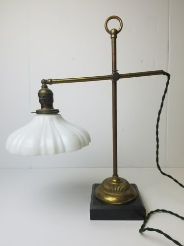 Antique 1900s student style desk lamp with milk glass shade brass industrial