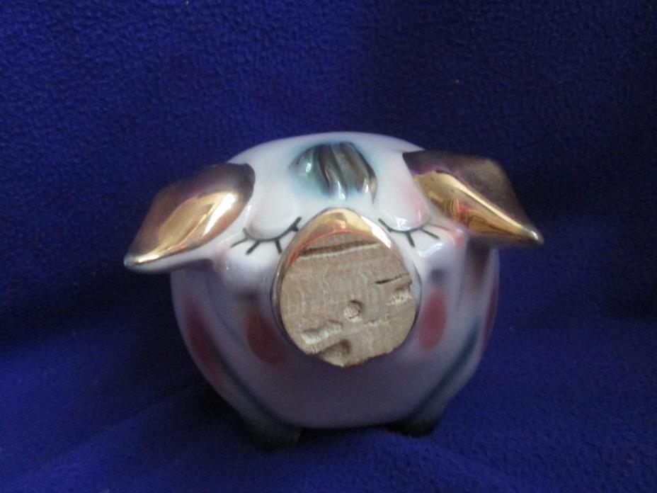 Vtg HULL Corky Piggy Bank Pig Green & Pink Swirls w/GOLD EARS