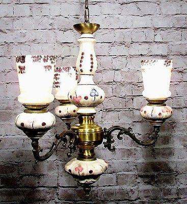 Antique Bronze Chandelier Porcelain Italian Glass Shades Fixture Lamp Pendant