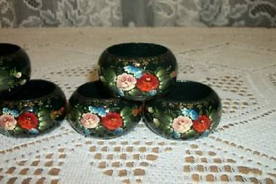 VINTAGE NOT USED CHIC 6 HP RUSSIAN ZHOSTOVO NAPKIN RINGS WOOD SHABBY ROSES
