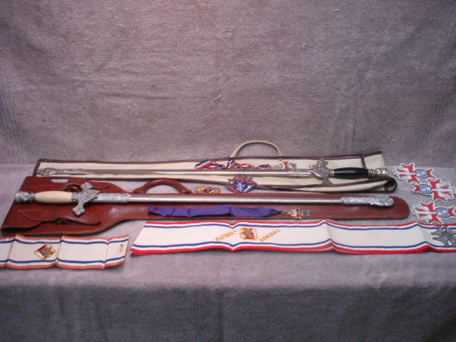 Knights of Columbus lot . 2 Swords and various items .