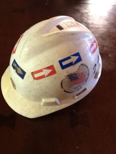vintage Plastic Hard hat Covered In Stickers
