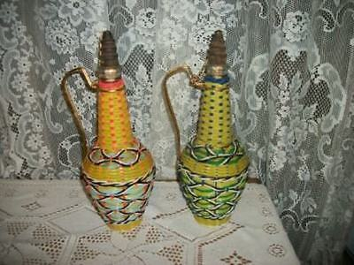 VINTAGE CHIC Pr PLASTIC BASKET WEAVE COVERED GLASS WINE DECANTERS SPAIN SHABBY