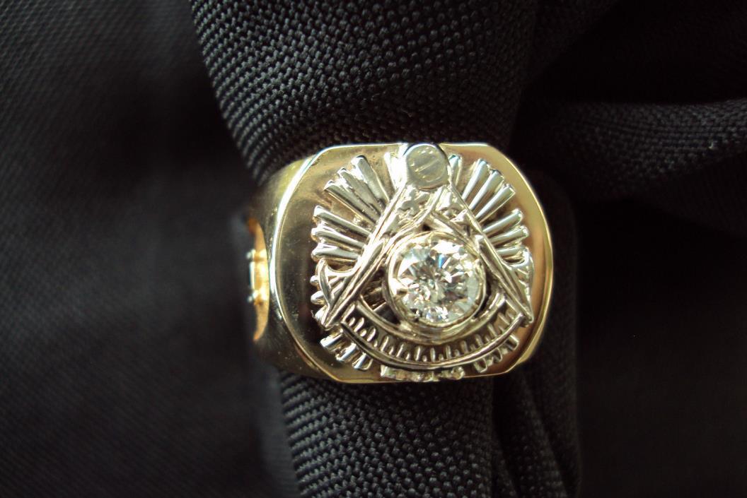 Vintage  Masonic Diamond Ring/ Size  10