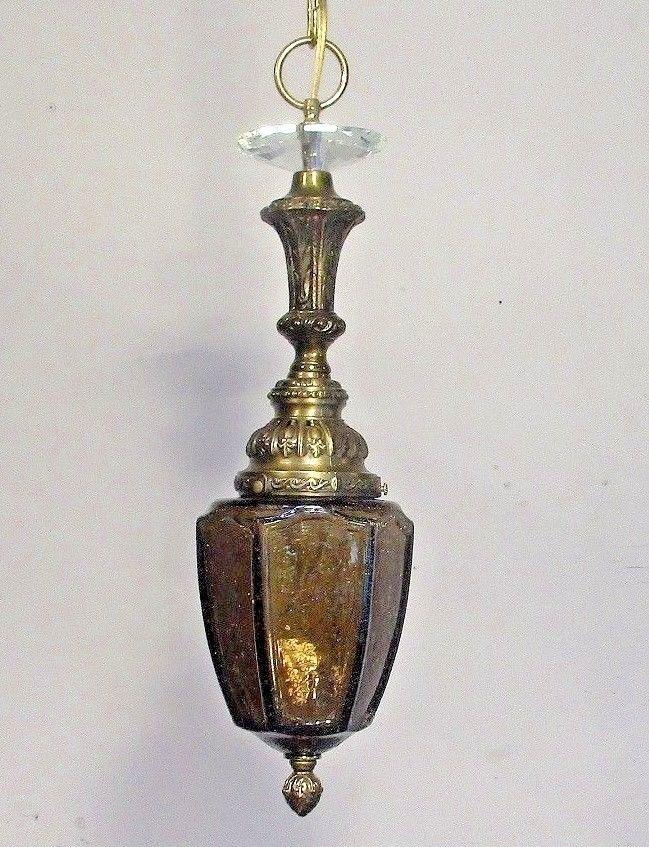 Antique Vintage Chandelier Pendant Light Crackle Smoked Glass Lantern Fixture