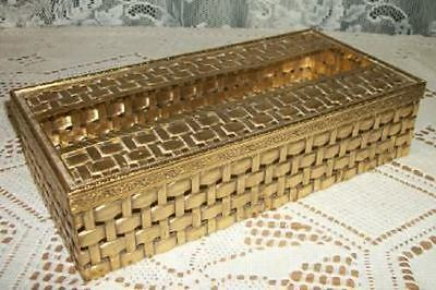 HOLLYWOOD REGENCY MCM STYLEBUILT FILIGREE BASKET WEAVE TISSUE BOX CHIC SHABBY