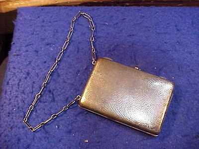 antique Art Deco Sterling  Germany compact Purse w mirror, pencil, writing pad