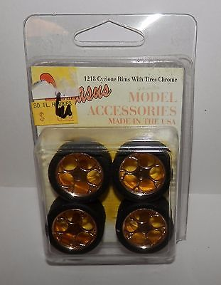 Pegasus Model Accessories 1:24/1:25 Cyclone Rims with Tires Chrome #1218 NOS