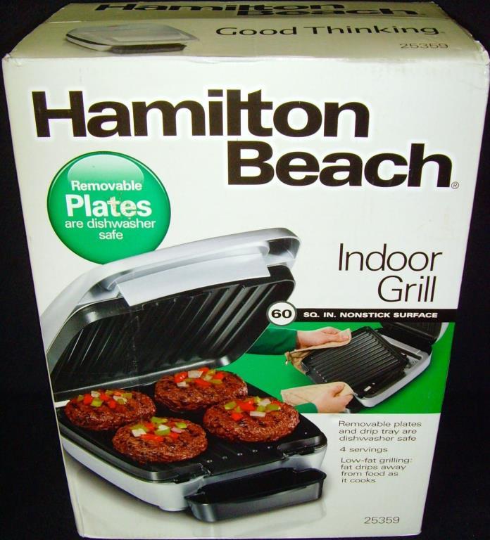 Brand New in Box•Hamilton Beach•Indoor Grill•w/ Removable Plates•Model No. 25359