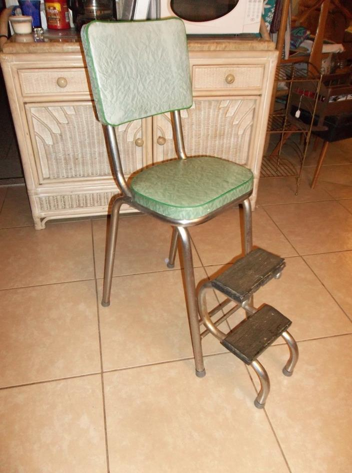 Vintage Retro Cosco Kitchen Pull Out Step Stool Chair Vinyl Green Free