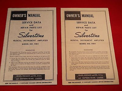 Vintage Silvertone 1484 Twin Guitar Amplifier Instruction Manual Schematic 60's