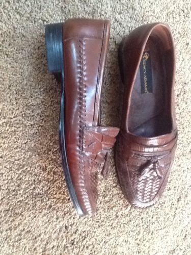 STACY ADAMS Men's Loafers Brown Woven Leather Tassel Shoes Brazil Size 9.5 W