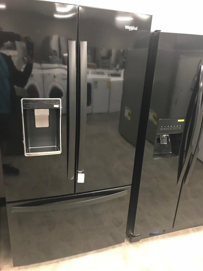 Black Whirlpool 36 Inch Freestanding French Door Refrigerator WRF954CIHB