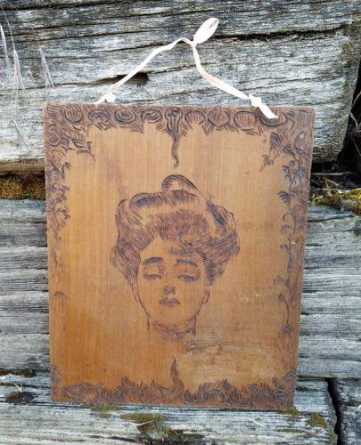 Antique VTG Art Nouveau Lady Woman PYROGRAPHY WOOD BURNED Wall Plaque Portrait