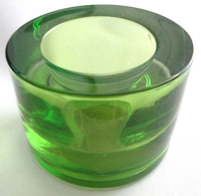 2-inch-tall, 3-inch-wide round GREEN GLASS TEA LIGHT CANDLE HOLDER