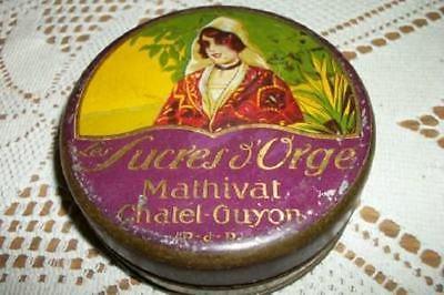 ANTIQUE FRENCH CHIC ART NOUVEAU LADY LOZENGE TIN SHABBY PASTILLES NICE OLDIE