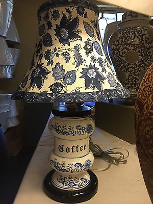 Vintage COFFEE jar lamp with custom blue & white amazing new shade-17