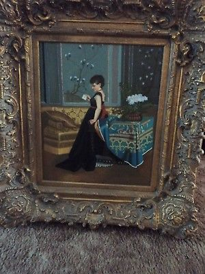 LARGE OIL PAINTING WITH GOLD GILDED FRAME VICTORIAN LADY 37