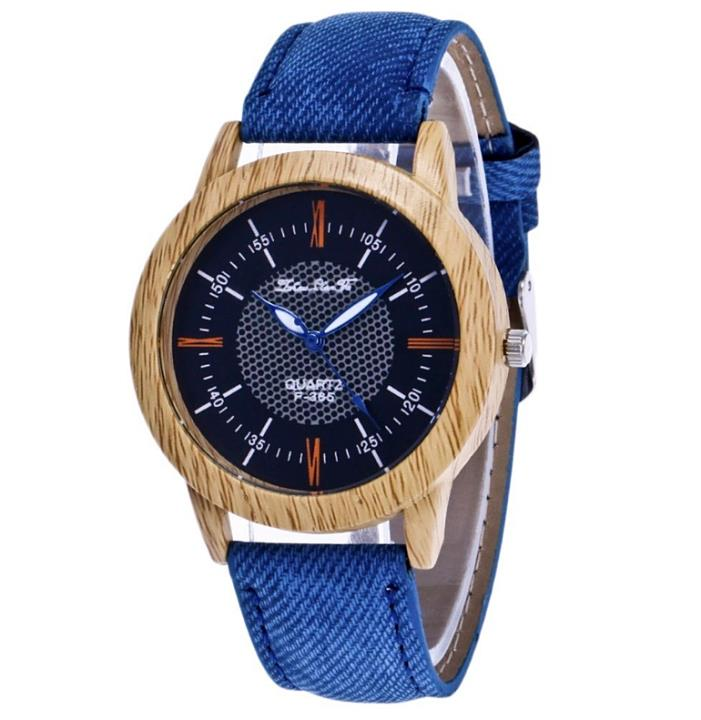 Quartz Band Denim Watch Women Leather Wrist Men Analog Wristwatch Fabric Blue