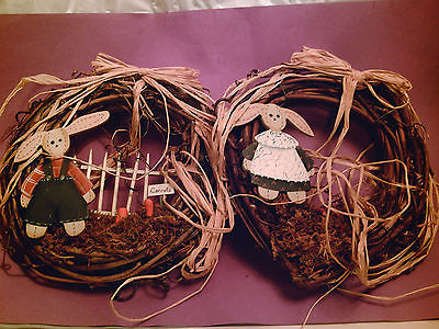 VINTAGE Set 2 Easter Holiday Grape Vine Wreaths - Boy & Girl Rabbits / Bunnies!!