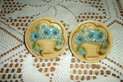 20s CHIC METAL FLOWER BASKET CURTAIN PINS SHABBY ART DECO ERA COTTAGE BUTTERY