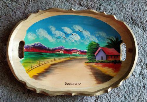 vintage wood tray Mexico folk art handpainted farm rural scene clouds birds road