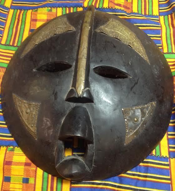 African Tribal Ceremonial Mask – Gold/Brass color – Ghana