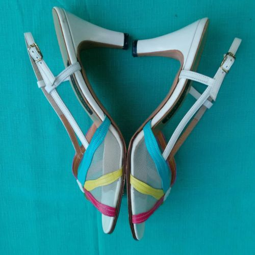 Vintage 70's Jack Rogers 8Narrow White/Multi Color Leather Peep Toe Strappy Heel