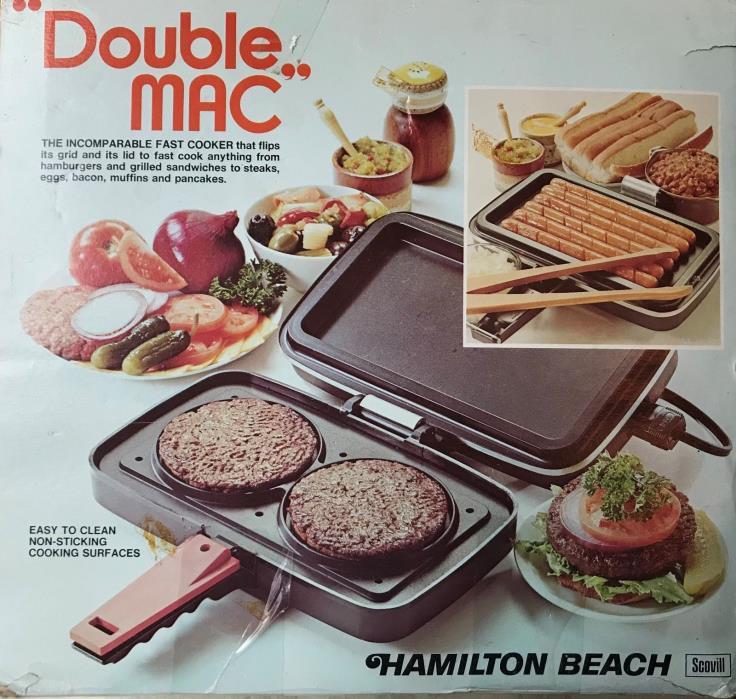 New In Box Vintage Hamilton Beach Double MacCooker Grill Joe Namath 1970's