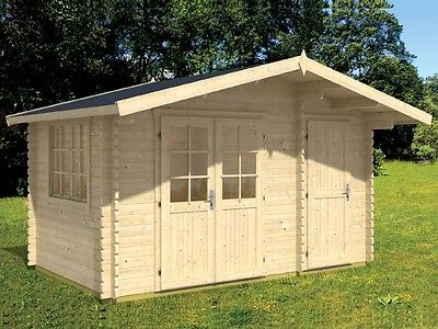 13'x13'  BZB Log Cabin Kit and Shed, 104 Sq.Ft Cabin and 51 Sq.Ft Storage