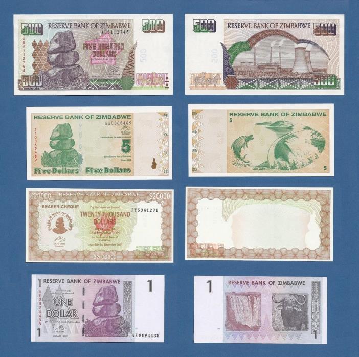 Banknote Zimbabwe Dollars Set (4) Bills used