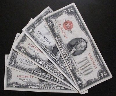 MIX LOT OF 5 x $1 & $2 US NOTES & SILVER CERTIFICATES XF / AU #A24