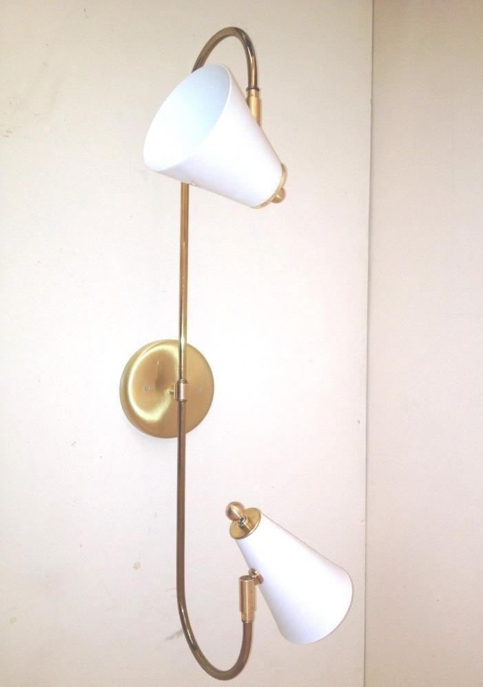 Stilnovo ARTELUCE Eames 2 CONE BRASS SCONCE or CEILING  Light LAMP Mid Century