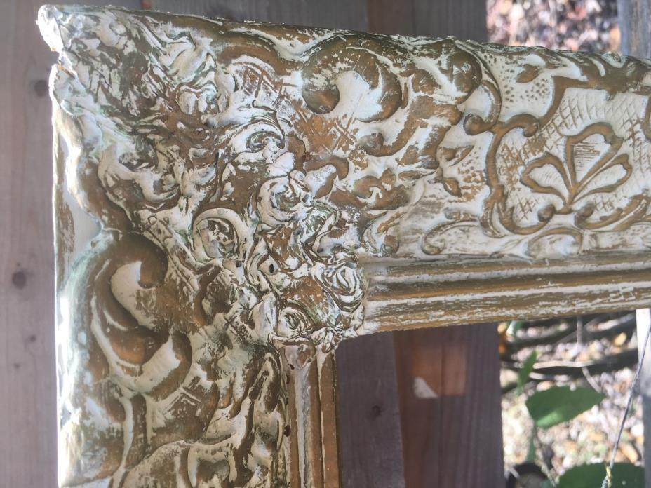 Large Antique White & Gold Gilt Gesso Wood Picture Frame 21x37 Beautiful Detail