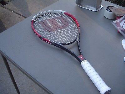 Wilson Federer Titanium Tennis Racquet w Pro Overwrap on the 4 1/2