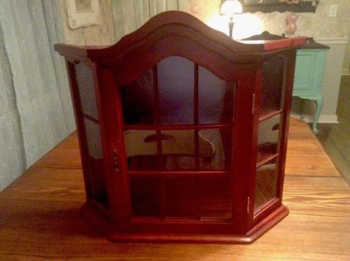 Vintage 3 Shelf Wood Glass Enclose Wall Mount Table Top Curio Cabinet