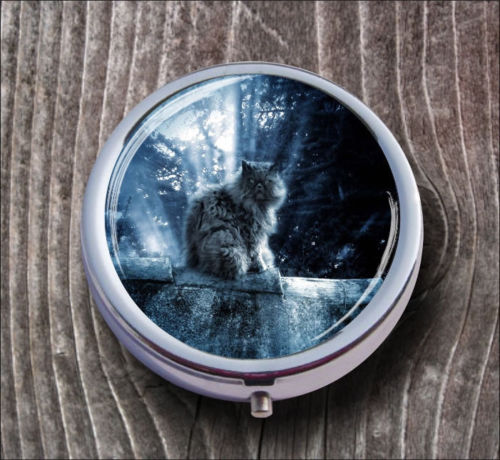 CAT GREY STRANGE SHADOWS AND REFLECTIONS PILL BOX ROUND METAL -mnb7X