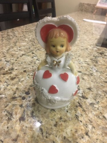 VINTAGE COLLECTIBLE VALENTINE'S  SPAGHETTI GIRL BELL....Japan 5 1/4 Inches